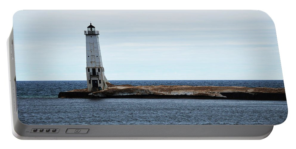 Frankfort Michigan Portable Battery Charger featuring the photograph Ice On Pier by Linda Kerkau