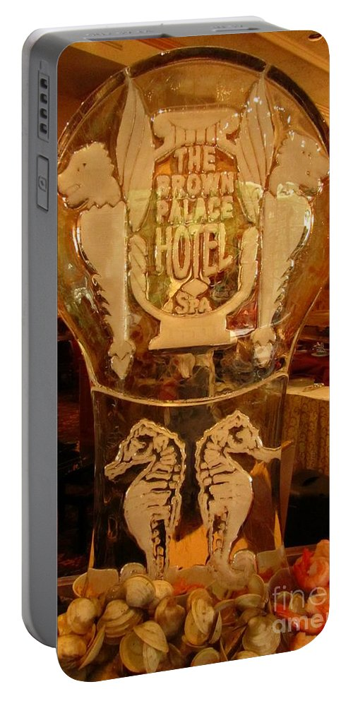 Ice Sculpture Art Portable Battery Charger featuring the photograph Ice Sculpture At Ellyngtons Sunday Brunch by John Malone
