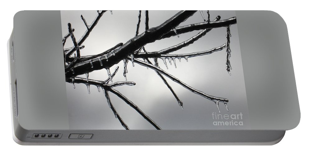 Winter Portable Battery Charger featuring the photograph Iced Tree by Ann Horn