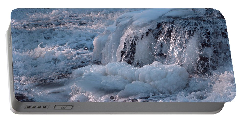 Winter Portable Battery Charger featuring the photograph Iced Water by Ann Horn
