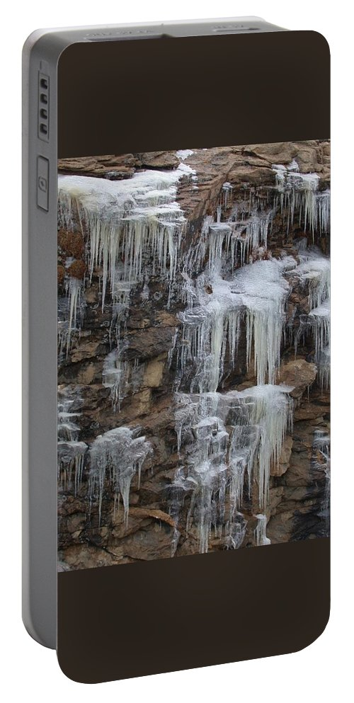 Icicle Portable Battery Charger featuring the photograph Icicle Cliffs by Shane Bechler