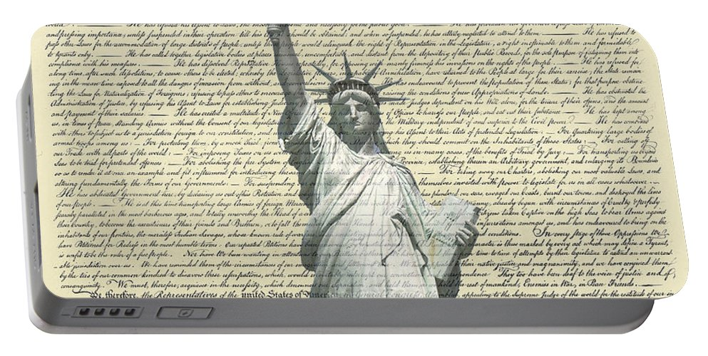 Statue+of+liberty Portable Battery Charger featuring the photograph Icon Of Freedom by Charles Beeler