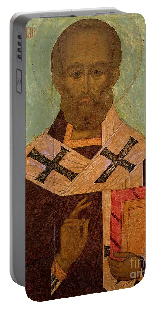 Saint Portable Battery Charger featuring the painting Icon Of St. Nicholas by Russian School