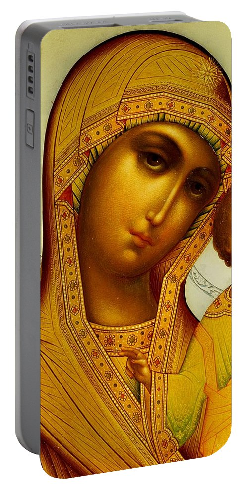 Virgin Mary; Madonna; Infant Christ; Jesus Christ; Ornate; Russian Orthodox Portable Battery Charger featuring the painting Icon Of The Virgin Kazanskaya by Dmitrii Smirnov