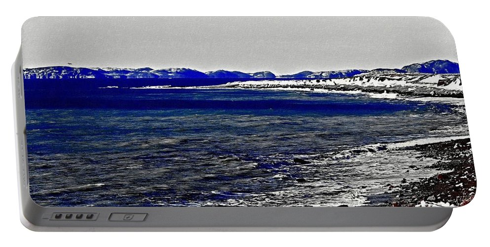 Icy Cold Seascape Portable Battery Charger featuring the painting Icy Cold Seascape Digital Painting by Barbara Griffin