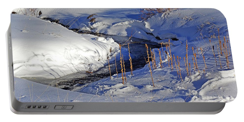 Colorado Photographs Portable Battery Charger featuring the photograph Icy Flow by Gary Benson