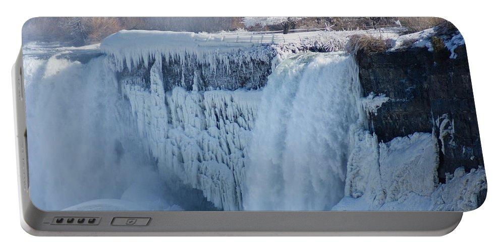 Georgia Mizuleva Portable Battery Charger featuring the photograph Icy Niagara Falls by Georgia Mizuleva