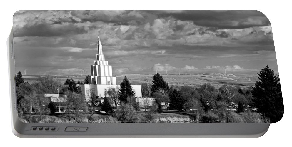 Temple Portable Battery Charger featuring the photograph Idaho Falls Temple by Eric Tressler