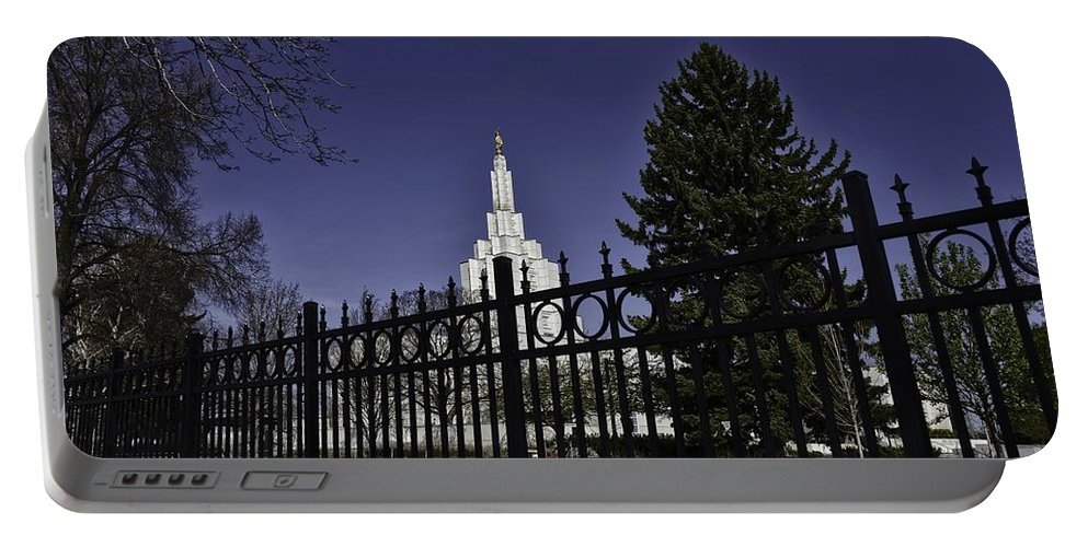 Idaho Falls Portable Battery Charger featuring the photograph Idaho Falls Temple Series 3 by Image Takers Photography LLC - Carol Haddon