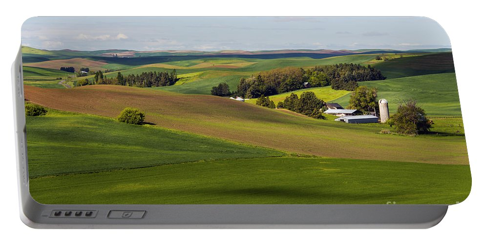 Palouse Area Portable Battery Charger featuring the photograph Idaho Farmland by Bob Phillips