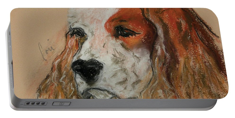 Dog Portable Battery Charger featuring the pastel Idle Thoughts by Cori Solomon
