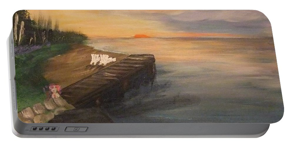 Acrylic Portable Battery Charger featuring the painting Idyllic Sunset by Lynne McQueen