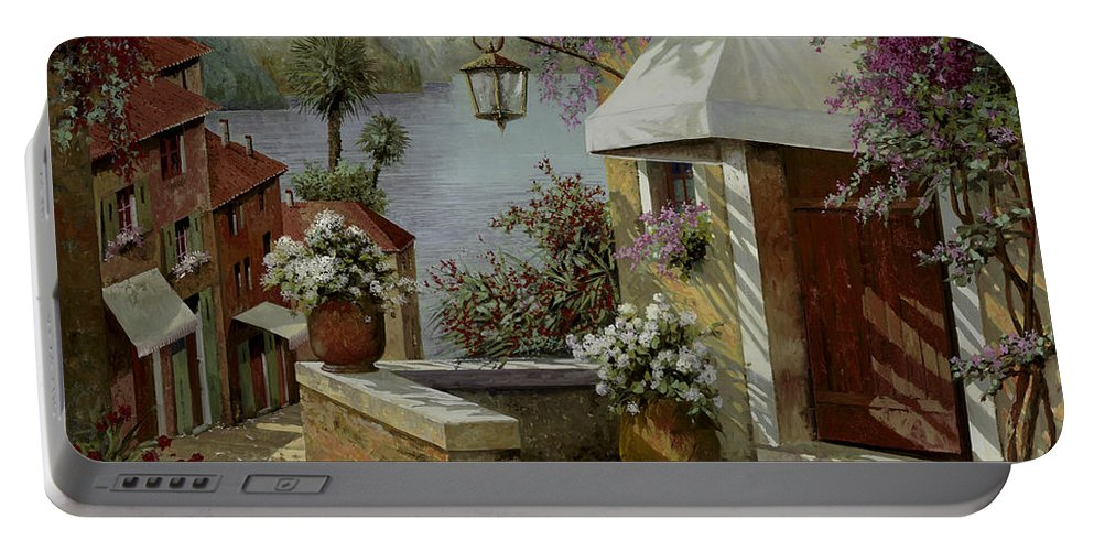 Lakescape Portable Battery Charger featuring the painting Il Lampione Oltre La Tenda by Guido Borelli