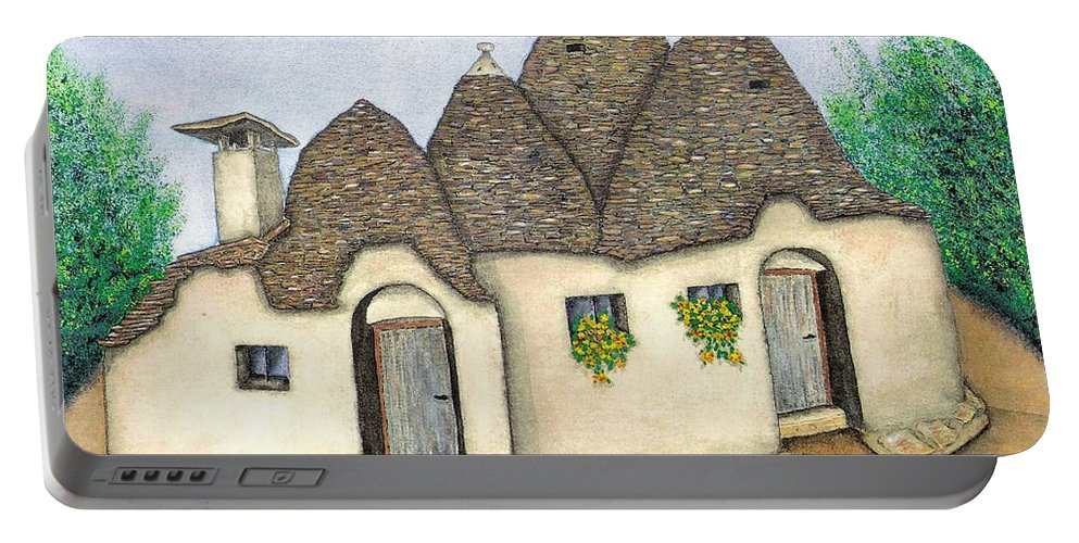 Pamela Allegretto Portable Battery Charger featuring the painting Il Trullo Alberobello by Pamela Allegretto