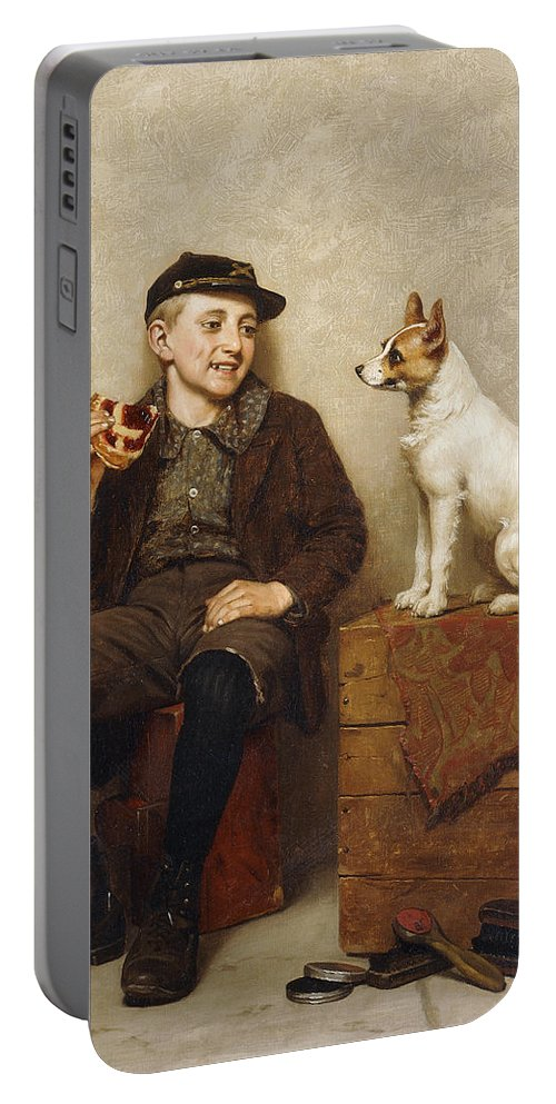 19th Century Portable Battery Charger featuring the painting Ill Share With You by John George Brown