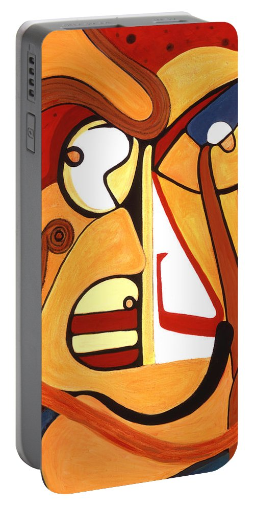 Abstract Art Portable Battery Charger featuring the painting Illuminatus 2 by Stephen Lucas
