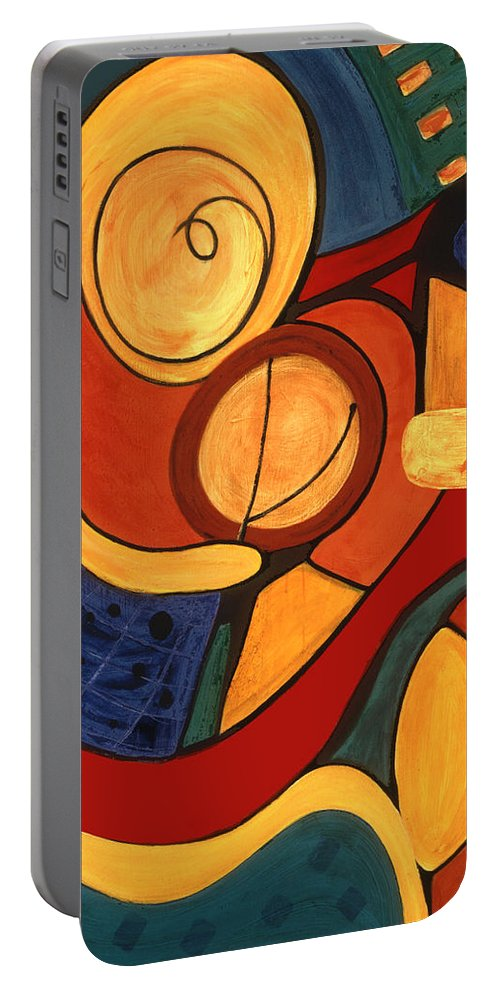 Abstract Art Portable Battery Charger featuring the painting Illuminatus 3 by Stephen Lucas