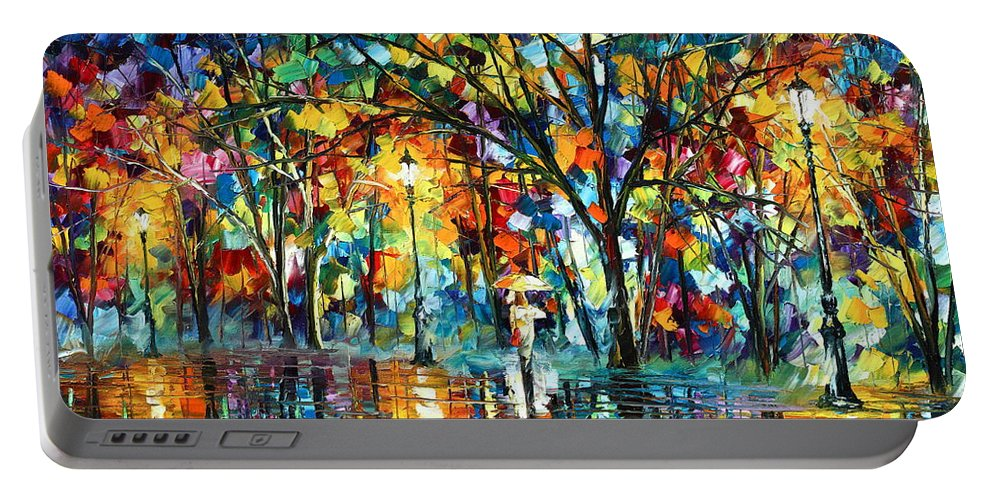 Park Portable Battery Charger featuring the painting Illusion by Leonid Afremov