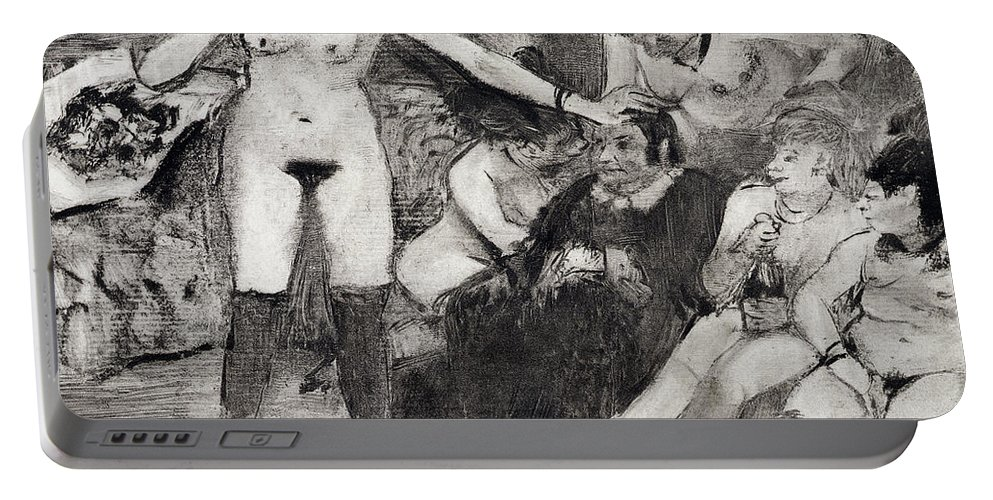 Female Portable Battery Charger featuring the drawing Illustration From La Maison Tellier By Guy De Maupassant by Edgar Degas