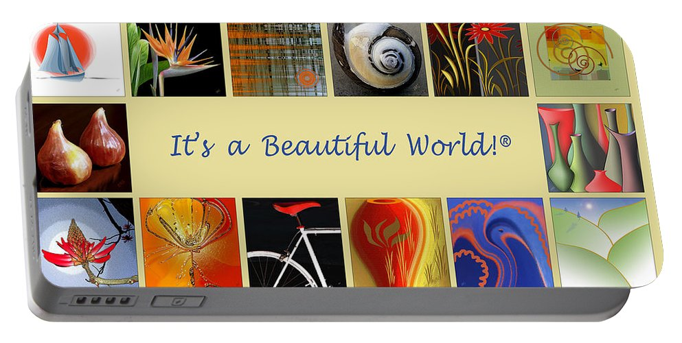Collage Portable Battery Charger featuring the digital art Image Mosaic - Promotional Collage by Ben and Raisa Gertsberg