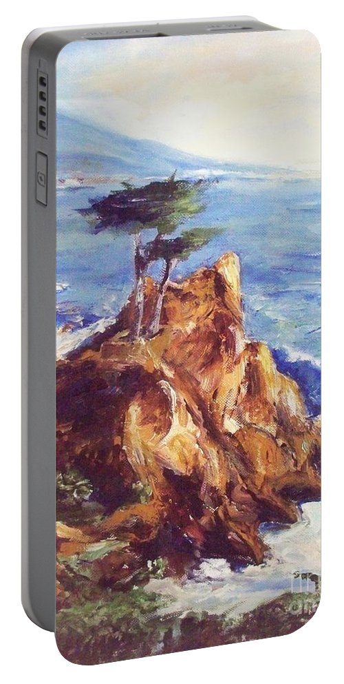 Seascape Portable Battery Charger featuring the painting Imaginary Cypress by Eric Schiabor