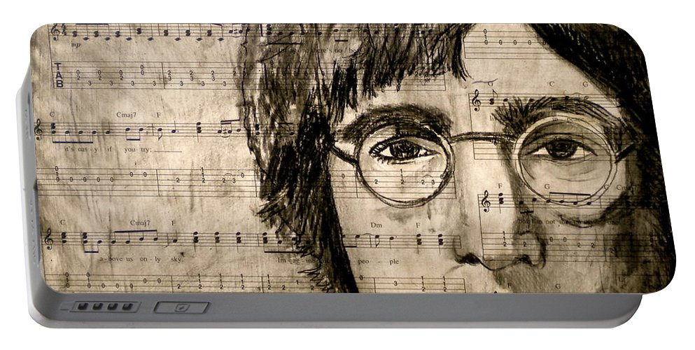 Imagine Portable Battery Charger featuring the drawing Imagine by Debi Starr
