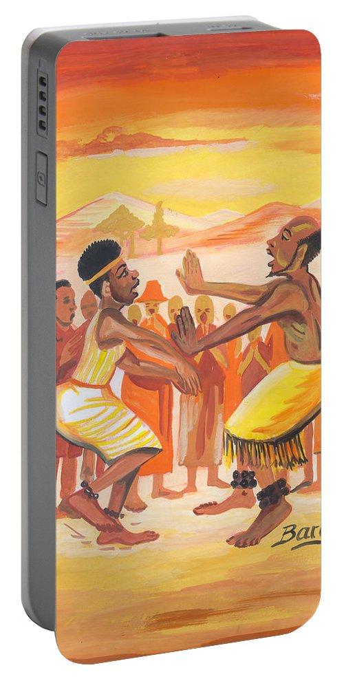 Barry Art Portable Battery Charger featuring the painting Imbiyino Dance From Rwanda by Emmanuel Baliyanga