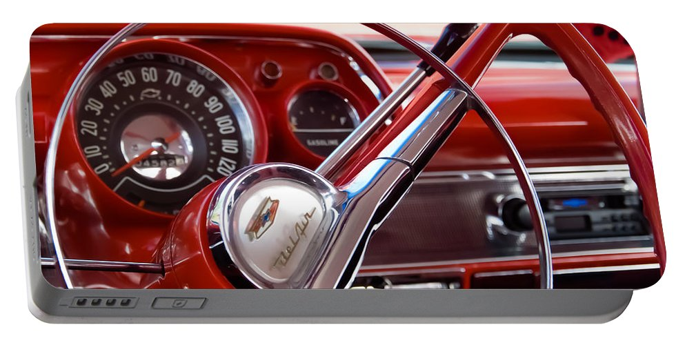 Classic Chevrolets Portable Battery Charger featuring the photograph Red Belair With Dice by Robert VanDerWal