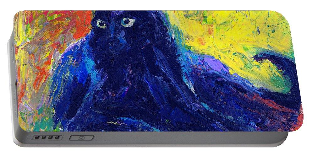 Black Cat Painting Portable Battery Charger featuring the painting Impasto Black Cat Painting by Svetlana Novikova