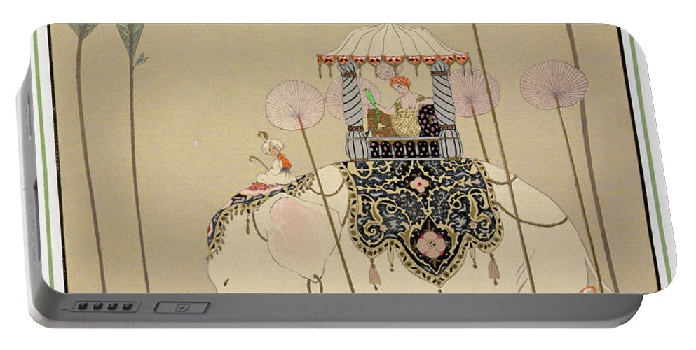 Elephant Portable Battery Charger featuring the painting Imperial Procession by Georges Barbier