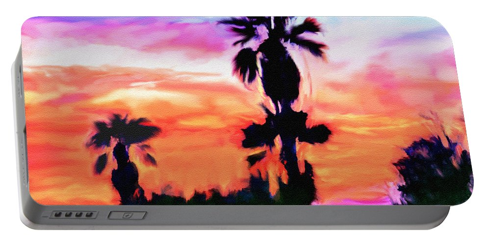 Abstract Portable Battery Charger featuring the digital art Impression Desert Sunset V2 by Bob and Nadine Johnston