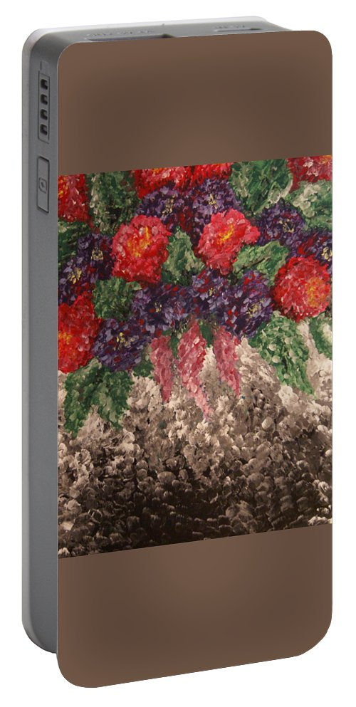 Painting Portable Battery Charger featuring the painting Impression Flowers by Laurie Pike