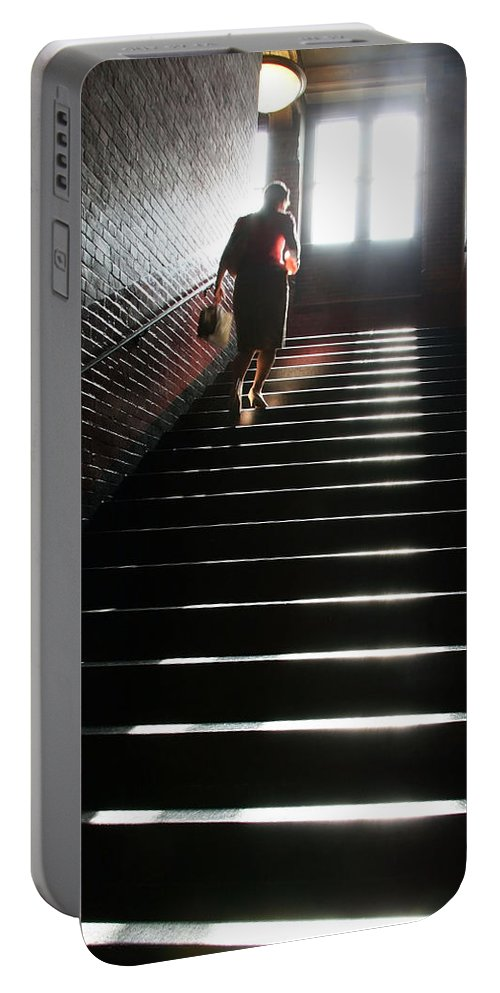 Woman Portable Battery Charger featuring the photograph In A Stairwell by Cora Wandel