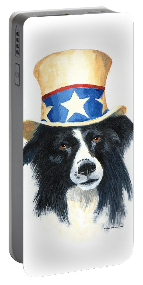 Dog Portable Battery Charger featuring the painting In Dog We Trust by Jerry McElroy