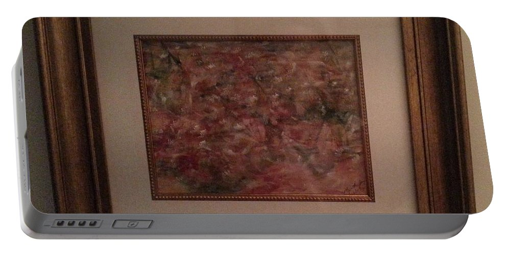 Framed Abstract Picture Portable Battery Charger featuring the painting In High Spirits by Myrtle Joy