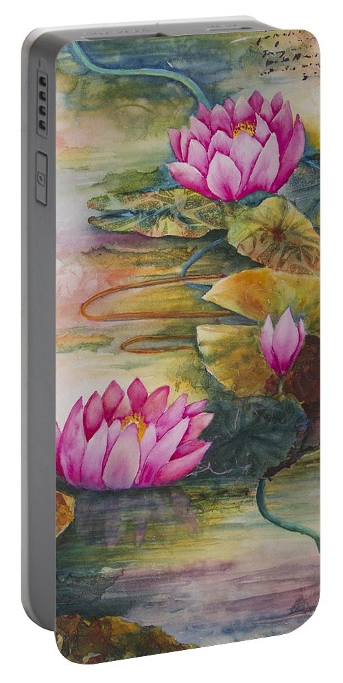 Water Portable Battery Charger featuring the painting In Living Color by Dee Carpenter
