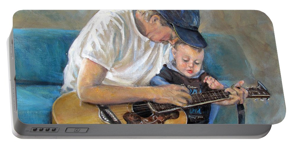 Human Portable Battery Charger featuring the painting In Memory Of Baby Jordan by Donna Tucker