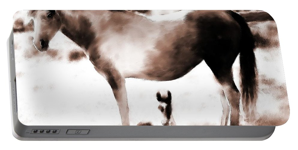 Horse Portable Battery Charger featuring the painting In Mom's Shadow by Shere Crossman