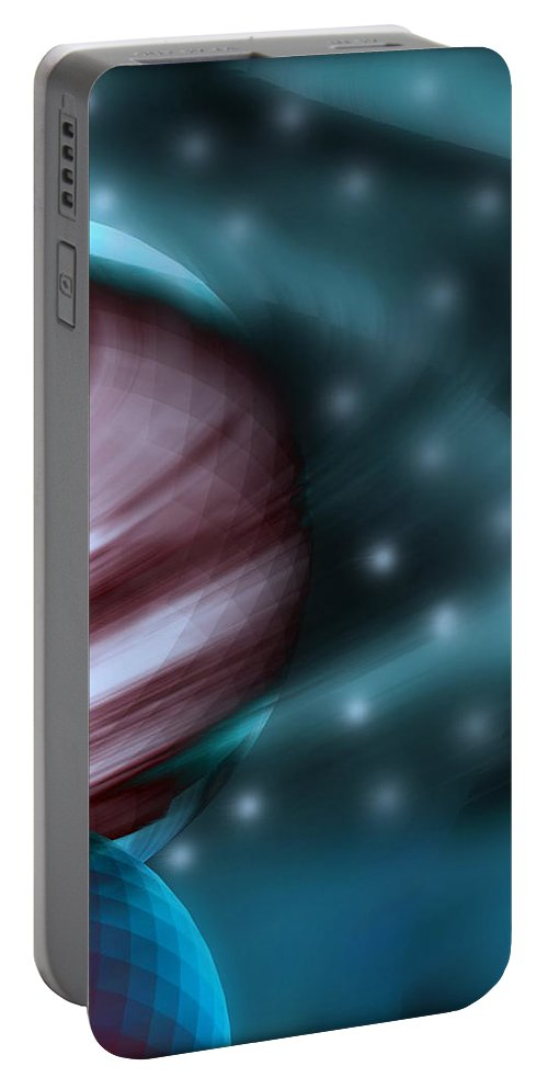 Space Art Portable Battery Charger featuring the digital art In Space by Linda Sannuti
