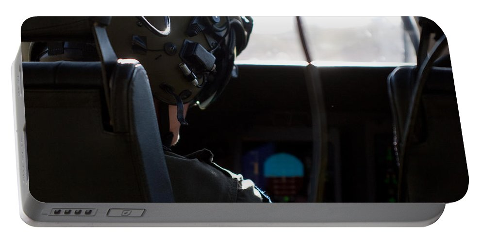 Pilot Portable Battery Charger featuring the photograph In The Cockpit by Paul Job