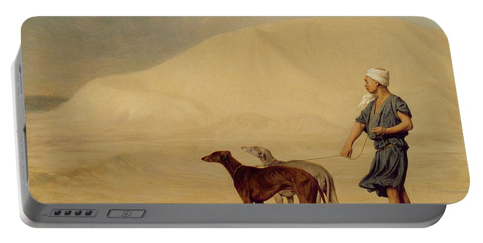 Male; Arab; Turban; Dog; Dogs; Greyhound; Orientalist; Sand; Desert Portable Battery Charger featuring the painting In The Desert by Jean Leon Gerome