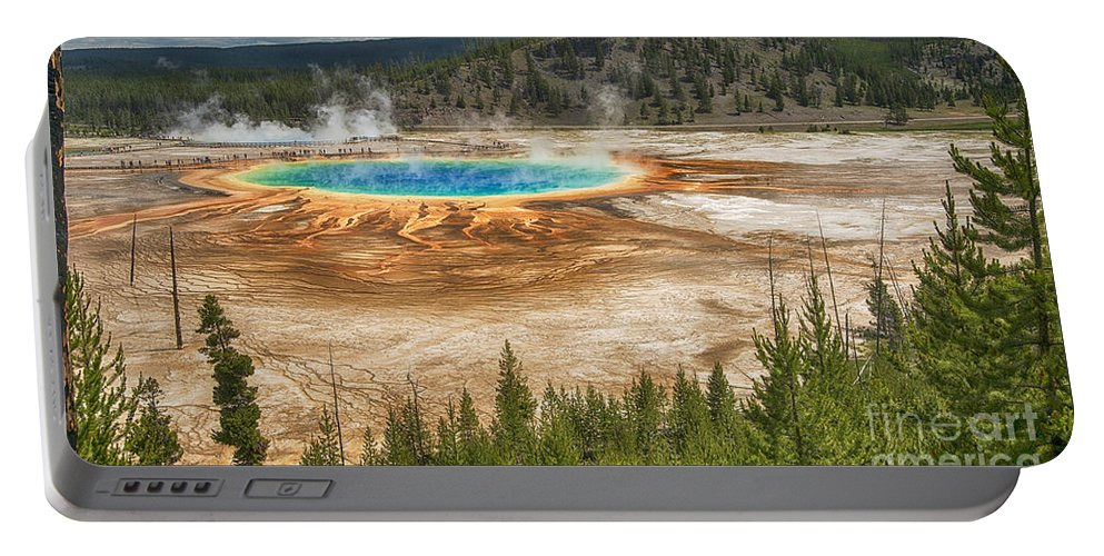 Geyser Portable Battery Charger featuring the photograph In The Distance by Claudia Kuhn