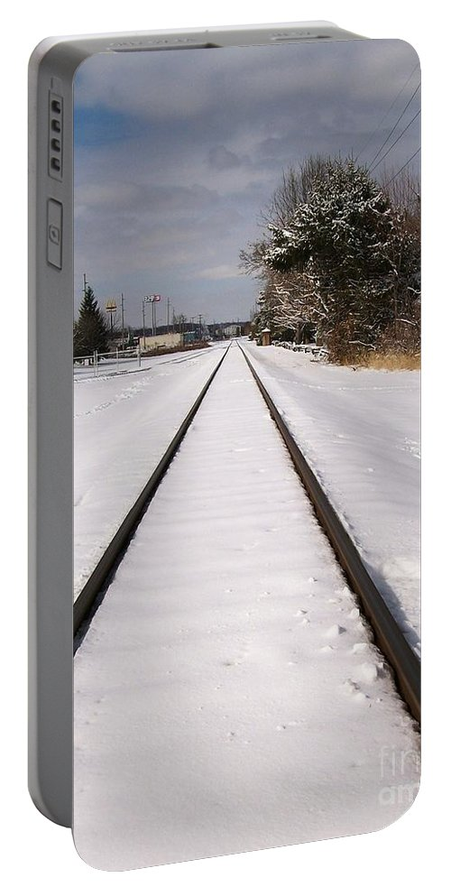 Railroad Portable Battery Charger featuring the photograph In The Distance by Sara Raber