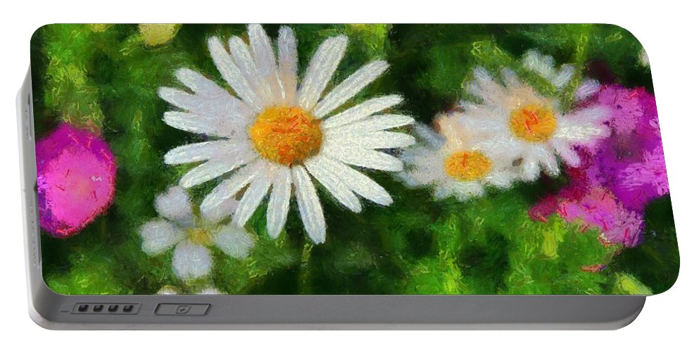 Spring Flowers Portable Battery Charger featuring the painting In The Garden by Dan Sproul