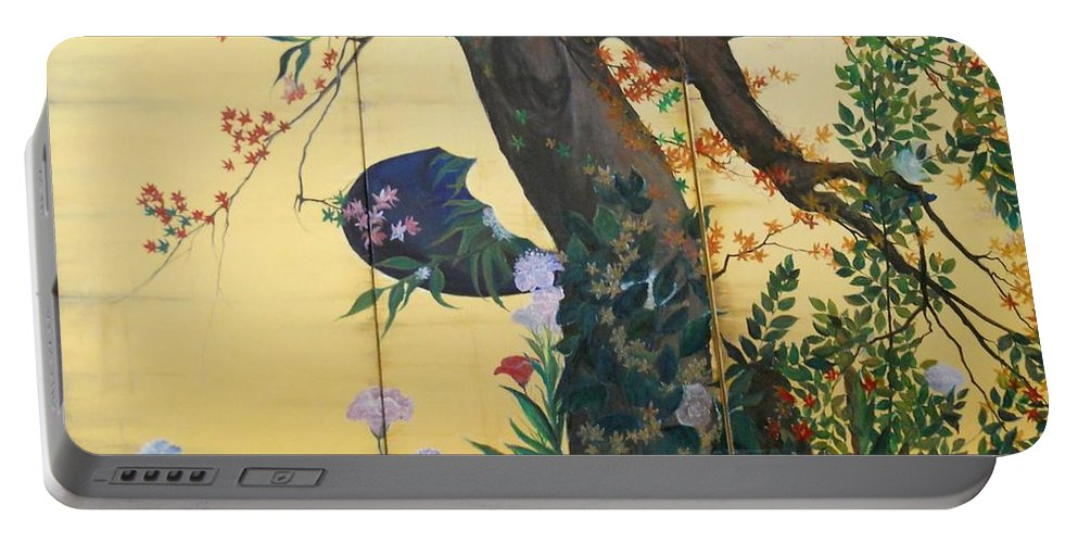 Flowers Paintings Portable Battery Charger featuring the painting In The Garden by Sorin Apostolescu