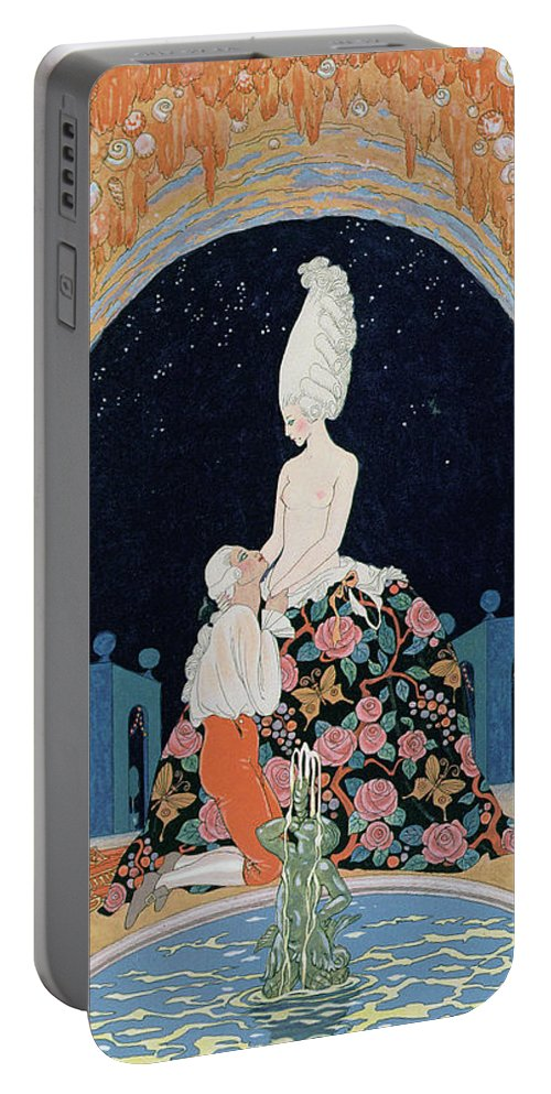 Male Portable Battery Charger featuring the painting In The Grotto by Georges Barbier