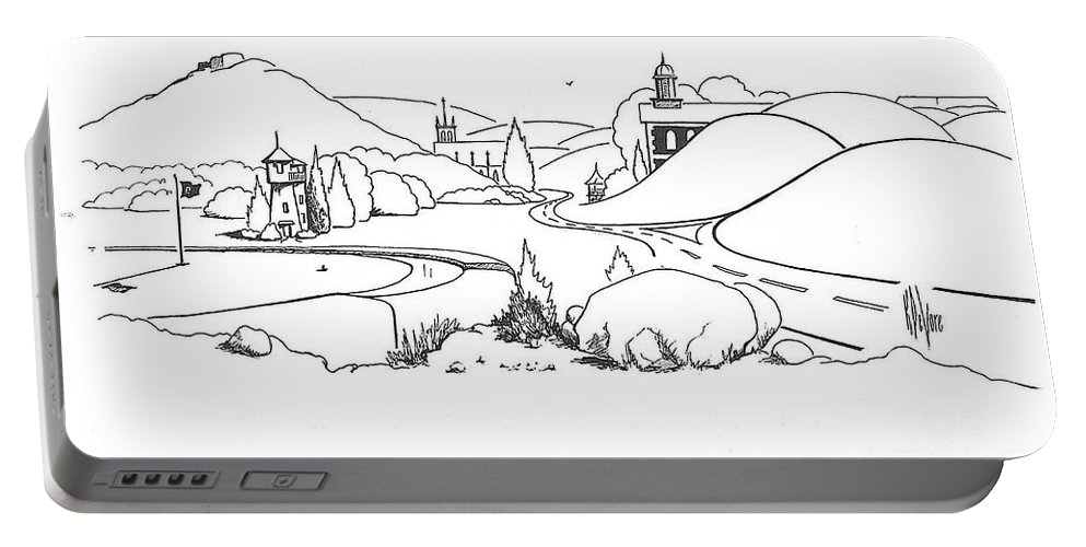 In The Land Of Brigadoon Portable Battery Charger featuring the drawing In The Land Of Brigadoon by Kip DeVore
