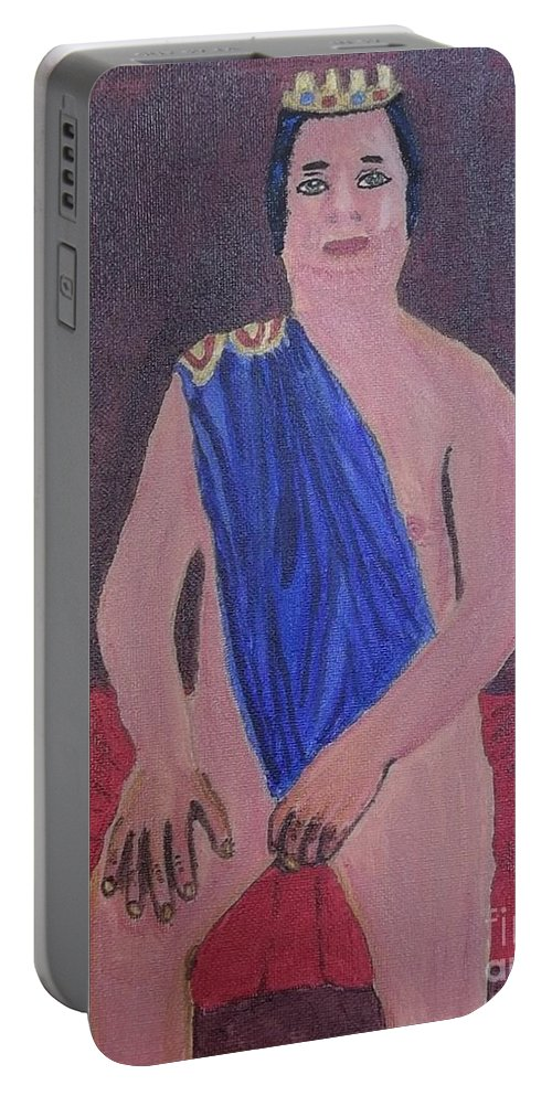 In The Royal Blue Portable Battery Charger featuring the painting In The Royal Blue by Tracey Williams