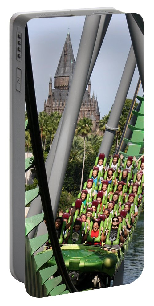Universal Orlando Resort Portable Battery Charger featuring the photograph In The Shadow Of Hogwarts by David Nicholls