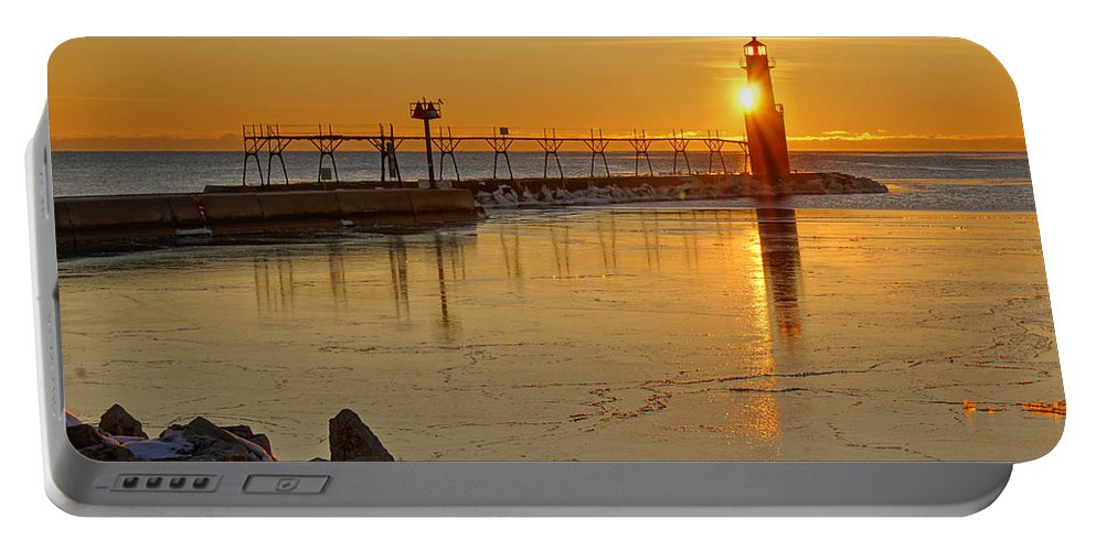 Lighthouse Portable Battery Charger featuring the photograph In The Still Of The Light by Bill Pevlor